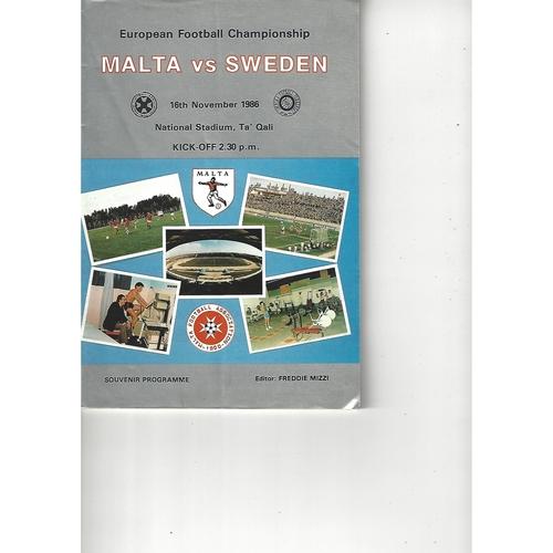 Malta v Sweden Football Programme 1986