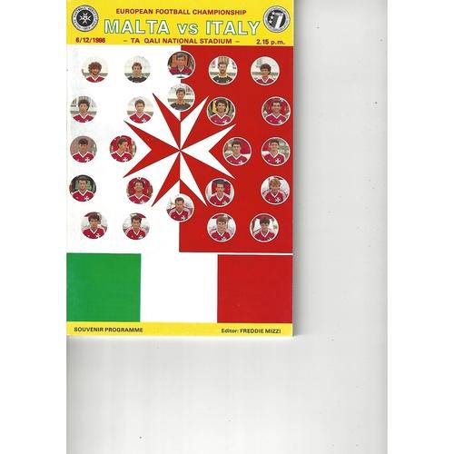 Malta v Italy Football Programme 1986