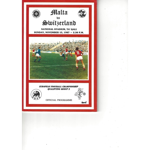 Malta v Switzerland Football Programme 1987