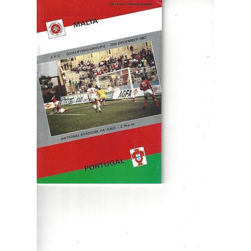 Malta v Portugal Football Programme 1987