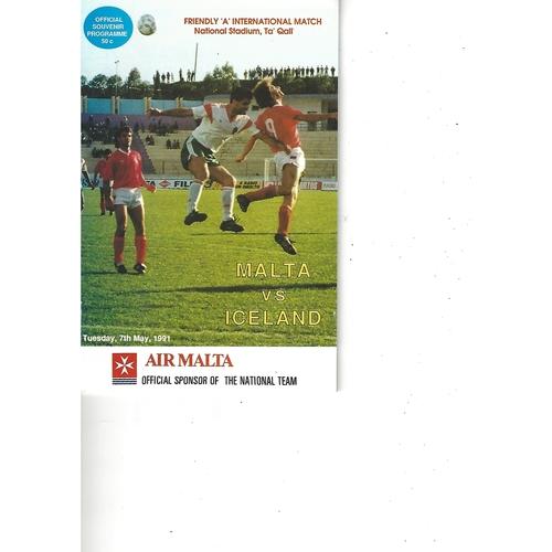 Malta v Iceland Football Programme 1991