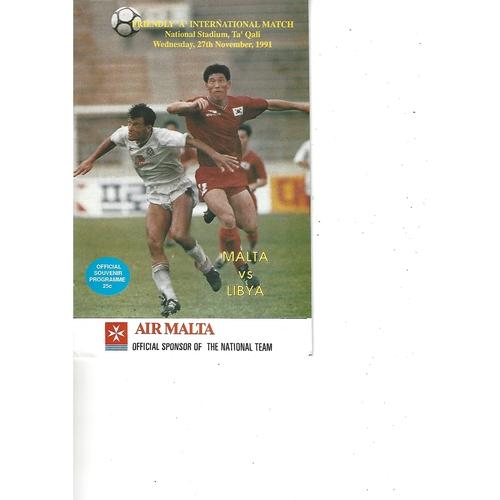 Malta v Libya Football Programme 1991