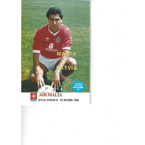 Malta v Latvia Football Programme 1992