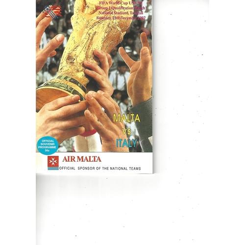 Malta v Italy Football Programme 1992