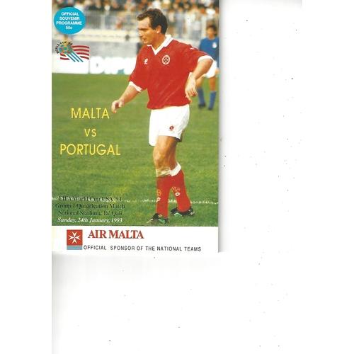 Malta v Portugal Football Programme 1993