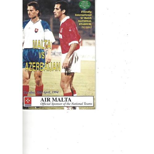 Malta v Azerbaijan Football Programme 1994