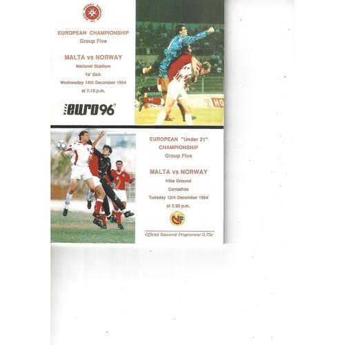 Malta v Norway Football Programme 1994
