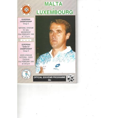 Malta v Luxembourg Football Programme 1995