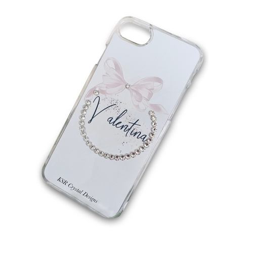 Bow in Circle Personalised Crystal Phone Case