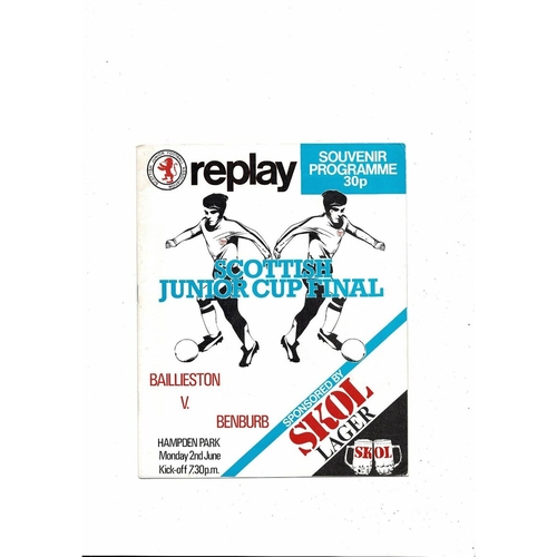 1980 Baillieston v Benburb Scottish Junior Cup Final Replay Football Programme