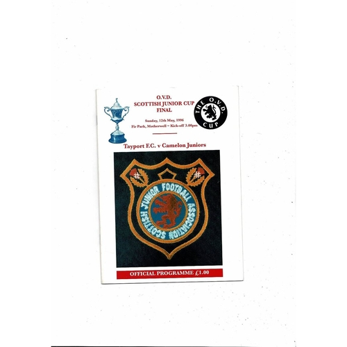 1996 Tayport v Camelon Scottish Junior Cup Final Football Programme