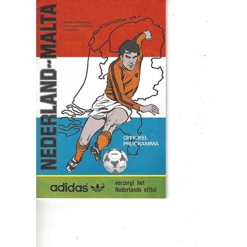 Holland v Malta Football Programme 1983