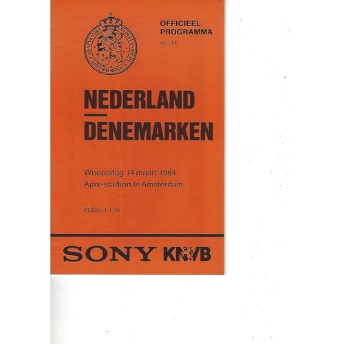 Holland v Denmark Football Programme 1984