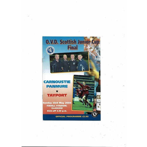 2004 Carnoustie v Tayport Scottish Junior Cup Final Football Programme