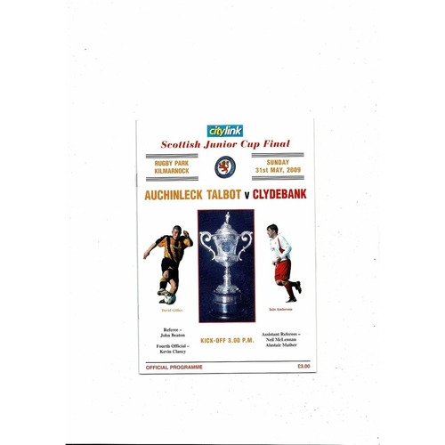 2009 Auchinleck Talbot v Clydebank Scottish Junior Cup Final Football Programme