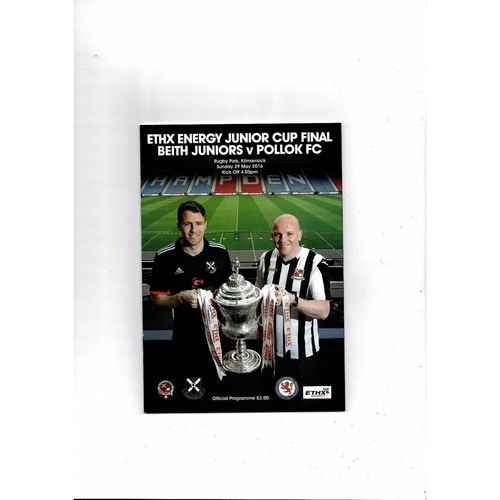 2016 Beith v Pollok Scottish Junior Cup Final Football Programme