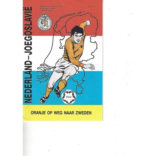 Holland v Yugoslavia Football Programme 1992
