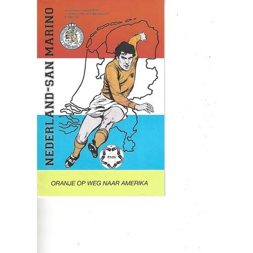 Holland v San Marino Football Programme 1993
