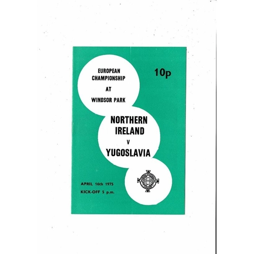 1975 Northern Ireland v Yugoslavia Football Programme