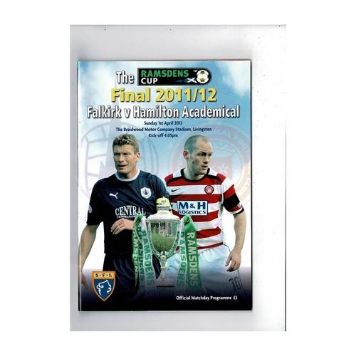 2012 Falkirk v Hamilton Challenge Cup Final Football Programme