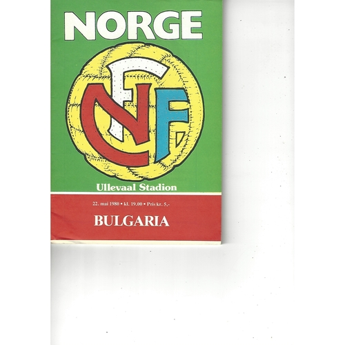 Norway v Bulgaria Football Programme 1980