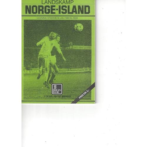 Norway v Iceland Football Programme 1980
