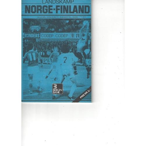 Norway v Finland Football Programme 1980
