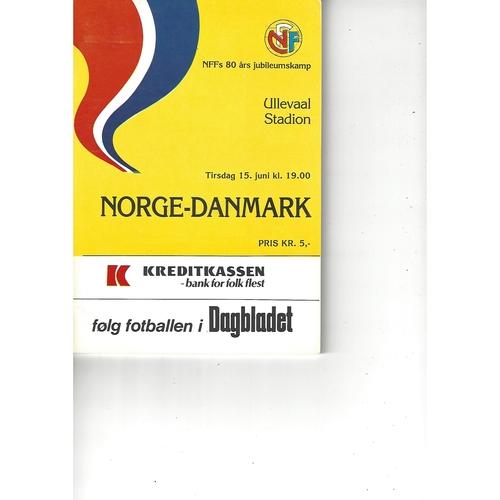 Norway v Denmark Football Programme 1982