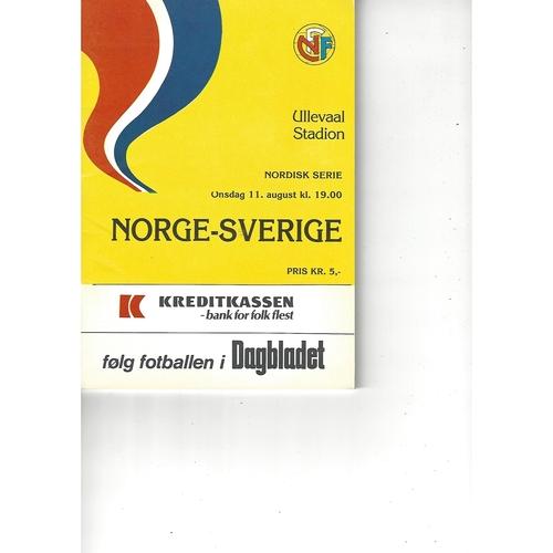 Norway v Sweden Football Programme 1982