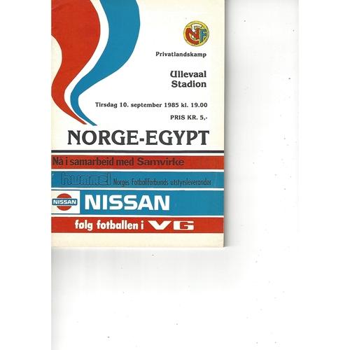 Norway v Egypt Football Programme 1985