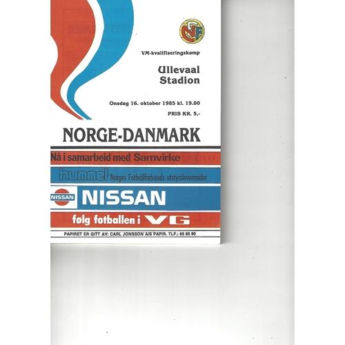 Norway v Denmark Football Programme 1985
