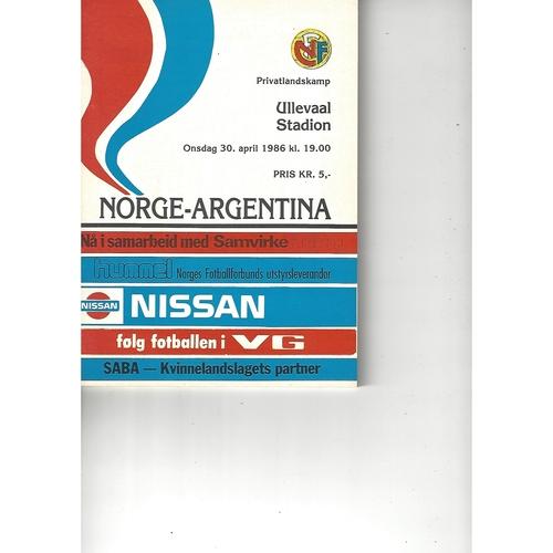 Norway v Argentina Football Programme 1986