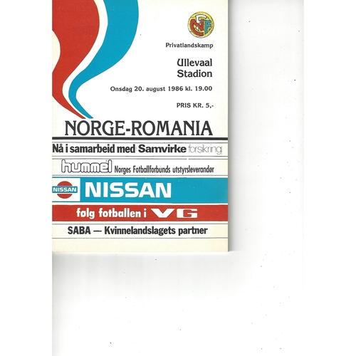 Norway v Romania Football Programme 1986