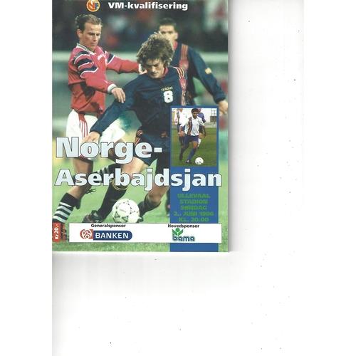 Norway v Azerbaijan Football Programme 1996