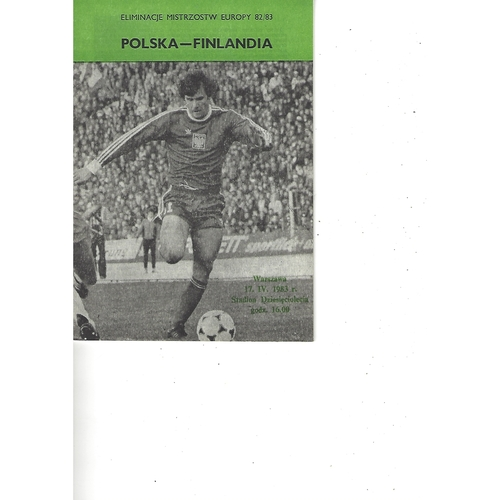 Poland v Finland Football Programme 1983