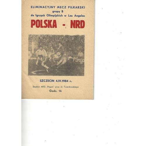 Poland v East Germany Football Programme 1984
