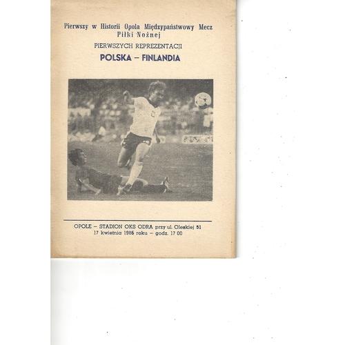 Poland v Finland Football Programme 1985