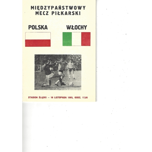 Poland v Italy Football Programme 1985