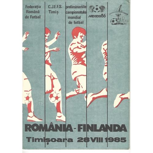 Romania v Finland Football Programme 1985