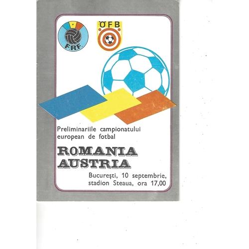 Romania v Austria Football Programme 1986
