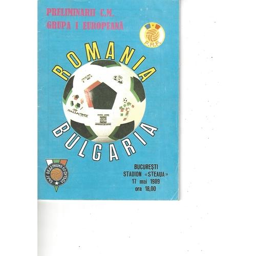 Romania v Bulgaria Football Programme 1989