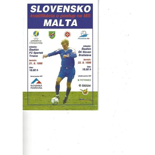 Slovakia v Malta Football Programme 1996