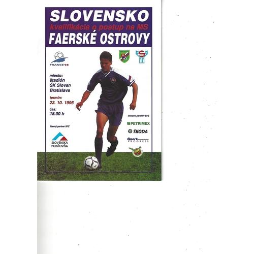 Slovakia v Faroe Islands Football Programme 1996