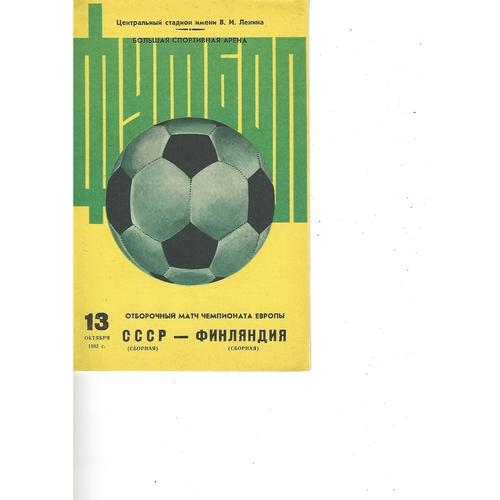 Russia v Finland Football Programme 1982