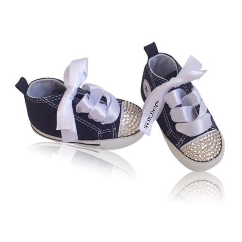 Swarovski Crystal Sparkly Customised Converse Trainers (Baby - Any Colour)