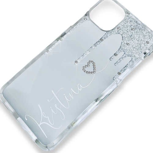 Glitter (effect) Drip Silver / Grey Personalised Phone Cases