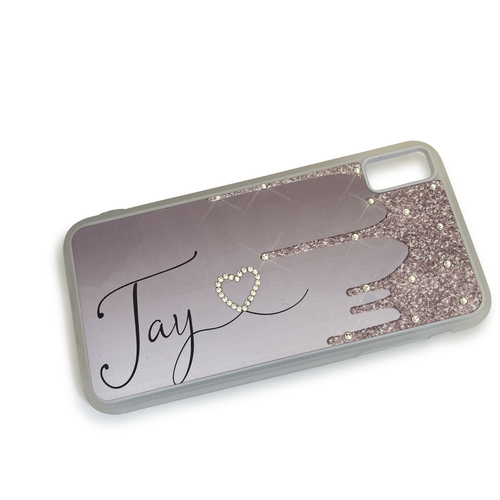 Glitter Drip effect personalised phone case with Swarovski Crystals
