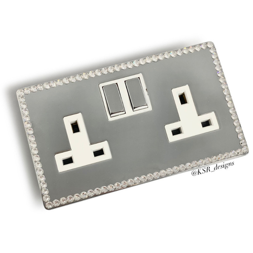 Double Plug Socket made with real crystals by Swarovski®