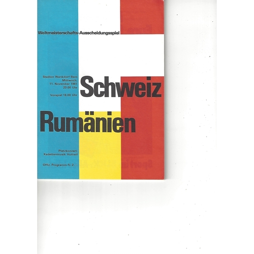 Switzerland v Romania Football Programme 1981