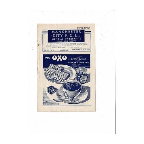 1947/48 Manchester City v Aston Villa Football Programme